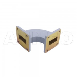 112WHB-50-50-25 WR112 Radius Bend Waveguide H-Plane 7.05-10GHz with Two Rectangular Waveguide Interfaces
