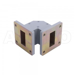 112WTEB-35-35 WR112 Miter Bend Waveguide E-Plane 7.05-10GHz with Two Rectangular Waveguide Interfaces