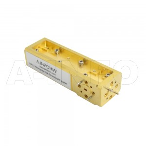 12WCHB-10_Cu WR12 Waveguide High Directional Coupler WCHB-XX Type H-Plane Bend 60-90GHz 10dB Coupling with Three Rectangular Waveguide Interfaces