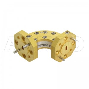 12WEB-20-20-10_Cu WR12 Radius Bend Waveguide E-Plane 60-90GHz with Two Rectangular Waveguide Interfaces