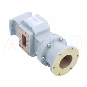 284WOMTWC329-02 WR284 Waveguide Ortho-Mode Transducer(OMT) 2.6-3.95GHz 329mm(12.962inch) WC329 Circular Waveguide Common Port