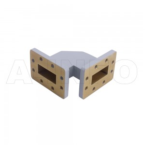 137WTHB-51-51 WR137 Miter Bend Waveguide H-Plane 5.85-8.2GHz with Two Rectangular Waveguide Interfaces