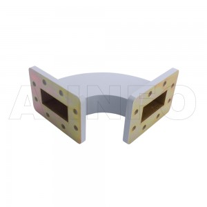 159WHB-80-80-40 WR159 Radius Bend Waveguide H-Plane 4.9-7.05GHz with Two Rectangular Waveguide Interfaces
