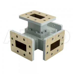 159WMT WR159 Waveguide Magic Tee 4.9-7.05GHz with Four Rectangular Waveguide Interfaces