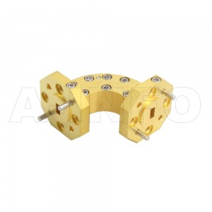 15WEB-20-20-10_Cu WR15 Radius Bend Waveguide E-Plane 50-75GHz with Two Rectangular Waveguide Interfaces