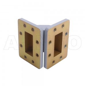 187WTEB-40-40 WR187 Miter Bend Waveguide E-Plane 3.95-5.85GHz with Two Rectangular Waveguide Interfaces