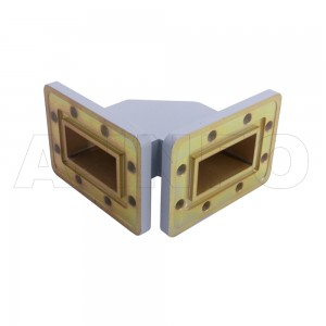 187WTHB-55-55_DMDM WR187 Miter Bend Waveguide H-Plane 3.95-5.85GHz with Two Rectangular Waveguide Interfaces