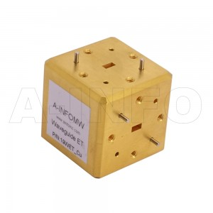 19WET_Cu WR19 Waveguide E-Plane Tee 40-60GHz with Three Rectangular Waveguide Interfaces