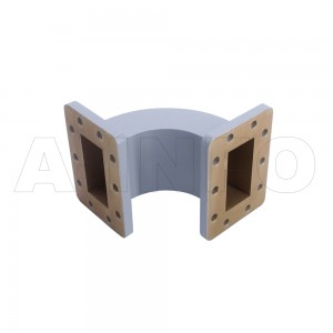 229WEB-80-80-40 WR229 Radius Bend Waveguide E-Plane 3.3-4.9GHz with Two Rectangular Waveguide Interfaces