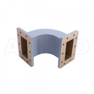 284WEB-100-100-40 WR284 Radius Bend Waveguide E-Plane 2.6-3.95GHz with Two Rectangular Waveguide Interfaces