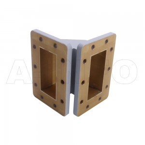 284WTEB-50-50 WR284 Miter Bend Waveguide E-Plane 2.6-3.95GHz with Two Rectangular Waveguide Interfaces