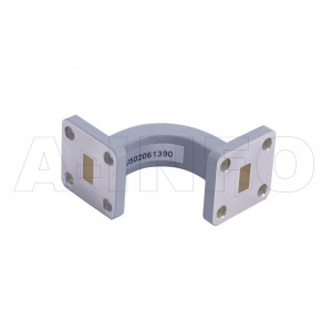 28WEB-25-25-10_Cu WR28 Radius Bend Waveguide E-Plane 26.5-40GHz with Two Rectangular Waveguide Interfaces