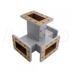 340WMT WR340 Waveguide Magic Tee 2.2-3.3GHz with Four Rectangular Waveguide Interfaces