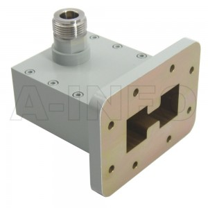 350DRWHCAN Right Angle High Power Double Ridge Waveguide to Coaxial Adapter 3.5-8.2GHz WRD350 to N Type Female