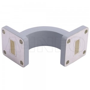42WEB-30-30-15_Cu WR42 Radius Bend Waveguide E-Plane 18-26.5GHz with Two Rectangular Waveguide Interfaces