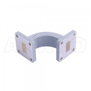 62WEB-40-40-20_Cu WR62 Radius Bend Waveguide E-Plane 12.4-18GHz with Two Rectangular Waveguide Interfaces