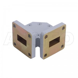 62WTHB-25-25 WR62 Miter Bend Waveguide H-Plane 12.4-18GHz with Two Rectangular Waveguide Interfaces