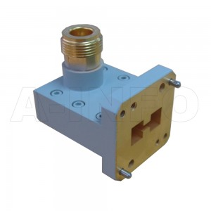 580DRWHCAN_Cu Right Angle High Power Double Ridge Waveguide to Coaxial Adapter 5.8-16GHz WRD580 to N Type Female