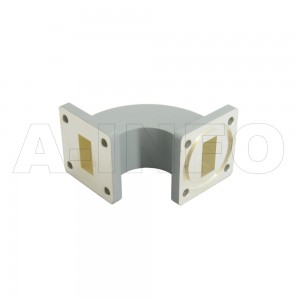 75WEB-40-40-20_Cu_BPBM WR75 Radius Bend Waveguide E-Plane 10-15GHz with Two Rectangular Waveguide Interfaces