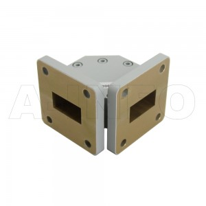 75WTHB-25-25 WR75 Miter Bend Waveguide H-Plane 10-15GHz with Two Rectangular Waveguide Interfaces