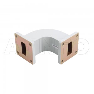 90WEB-50-50-20 WR90 Radius Bend Waveguide E-Plane 8.2-12.4GHz with Two Rectangular Waveguide Interfaces