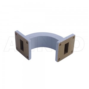 90WEB-55-55-35 WR90 Radius Bend Waveguide E-Plane 8.2-12.4GHz with Two Rectangular Waveguide Interfaces