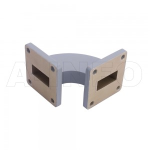 90WHB-38-38-20 WR90 Radius Bend Waveguide H-Plane 8.2-12.4GHz with Two Rectangular Waveguide Interfaces