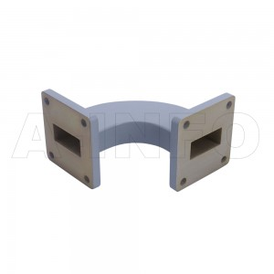 90WHB-50-50-20 WR90 Radius Bend Waveguide H-Plane 8.2-12.4GHz with Two Rectangular Waveguide Interfaces