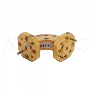 10WEB-20-20-10_Cu WR10 Radius Bend Waveguide E-Plane 75-110GHz with Two Rectangular Waveguide Interfaces
