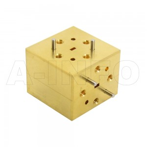 10WET_Cu WR10 Waveguide E-Plane Tee 75-110GHz with Three Rectangular Waveguide Interfaces