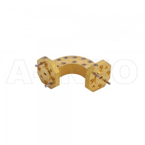 10WHB-25-25-10_Cu WR10 Radius Bend Waveguide H-Plane 75-110GHz with Two Rectangular Waveguide Interfaces
