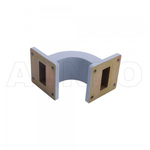 112WEB-50-50-25 WR112 Radius Bend Waveguide E-Plane 7.05-10GHz with Two Rectangular Waveguide Interfaces