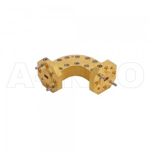 12WHB-25-25-10_Cu WR12 Radius Bend Waveguide H-Plane 60-90GHz with Two Rectangular Waveguide Interfaces