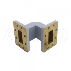 137WTEB-51-51_Cu WR137 Miter Bend Waveguide E-Plane 5.85-8.2GHz with Two Rectangular Waveguide Interfaces