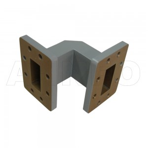 137WTEB-51-51 WR137 Miter Bend Waveguide E-Plane 5.85-8.2GHz with Two Rectangular Waveguide Interfaces