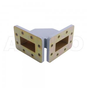 187WTHB-55-55 WR187 Miter Bend Waveguide H-Plane 3.95-5.85GHz with Two Rectangular Waveguide Interfaces