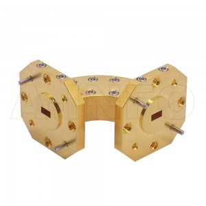 19WHB-25-25-10_Cu WR19 Radius Bend Waveguide H-Plane 40-60GHz with Two Rectangular Waveguide Interfaces