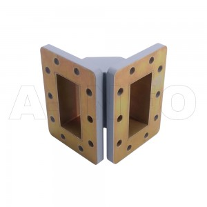 229WTEB-45-45 WR229 Miter Bend Waveguide E-Plane 3.3-4.9GHz with Two Rectangular Waveguide Interfaces