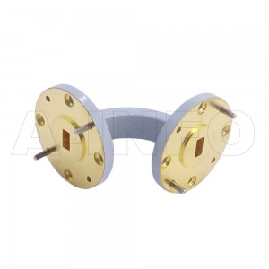22WEB-25-25-10_Cu WR22 Radius Bend Waveguide E-Plane 33-50GHz with Two Rectangular Waveguide Interfaces