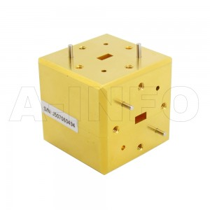 22WET_Cu WR22 Waveguide E-Plane Tee 33-50GHz with Three Rectangular Waveguide Interfaces