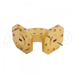 22WHB-25-25-15_Cu WR22 Radius Bend Waveguide H-Plane 33-50GHz with Two Rectangular Waveguide Interfaces