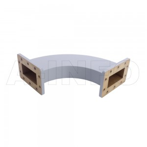 284WHB-160-160-100 WR284 Radius Bend Waveguide H-Plane 2.6-3.95GHz with Two Rectangular Waveguide Interfaces