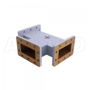 284WHT WR284 Waveguide H-Plane Tee 2.6-3.95GHz with Three Rectangular Waveguide Interfaces