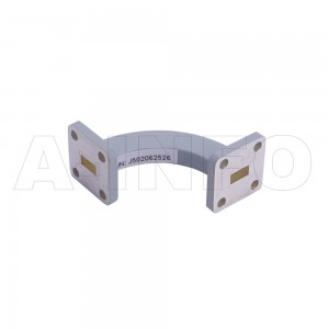 28WHB-30-30-15_Cu WR28 Radius Bend Waveguide H-Plane 26.5-40GHz with Two Rectangular Waveguide Interfaces