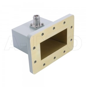 340WCAN_P0 Right Angle Rectangular Waveguide to Coaxial Adapter 2.2-3.3GHz WR340 to N Type Female