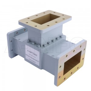 340WET WR340 Waveguide E-Plane Tee 2.2-3.3GHz with Three Rectangular Waveguide Interfaces