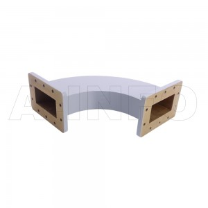 340WHB-180-180-100 WR340 Radius Bend Waveguide H-Plane 2.2-3.3GHz with Two Rectangular Waveguide Interfaces