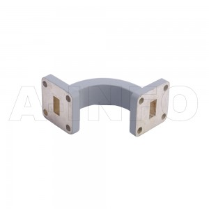 34WEB-30-30-15_Cu WR34 Radius Bend Waveguide E-Plane 22-33GHz with Two Rectangular Waveguide Interfaces