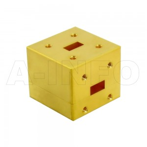 34WET_Cu WR34 Waveguide E-Plane Tee 22-33GHz with Three Rectangular Waveguide Interfaces