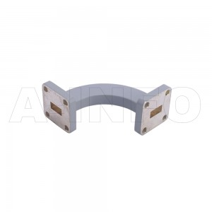 34WHB-35-35-20_Cu WR34 Radius Bend Waveguide H-Plane 22-33GHz with Two Rectangular Waveguide Interfaces
